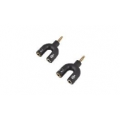 ADAPTATEUR  JACK 3,5MM 4PIN  MALE- 2X3,5MM 3PIN  FEM.